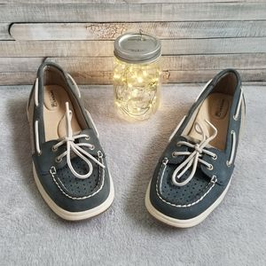 Blue Leather Sperry Top-Sider Boat Shoes